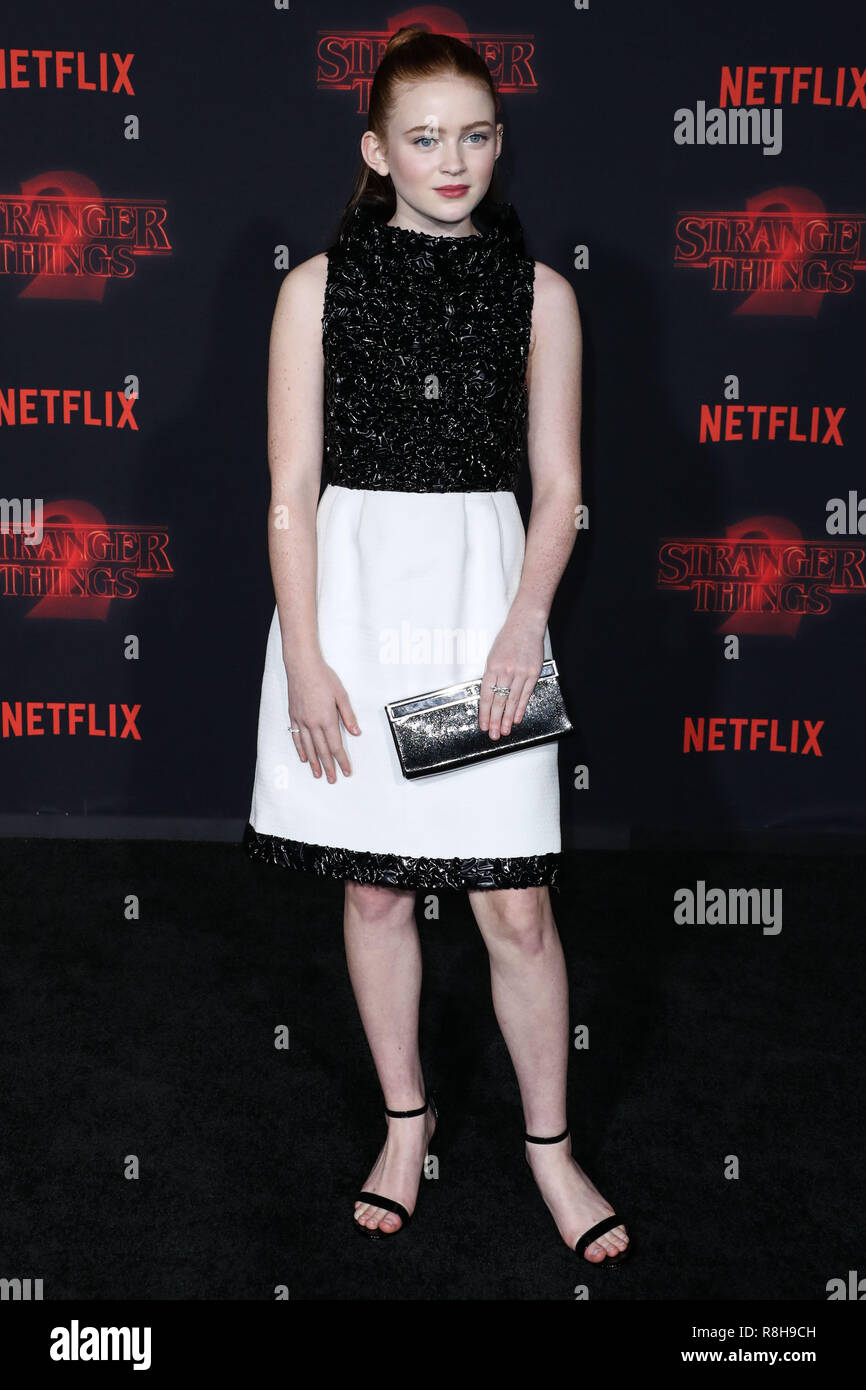 WESTWOOD, LOS ANGELES, CA, USA - OCTOBER 26: Sadie Sink at the Los Angeles Premiere Of Netflix's 'Stranger Things' Season 2 held at the Westwood Village Theatre on October 26, 2017 in Westwood, Los Angeles, California, United States. (Photo by Xavier Collin/Image Press Agency) - Stock Image