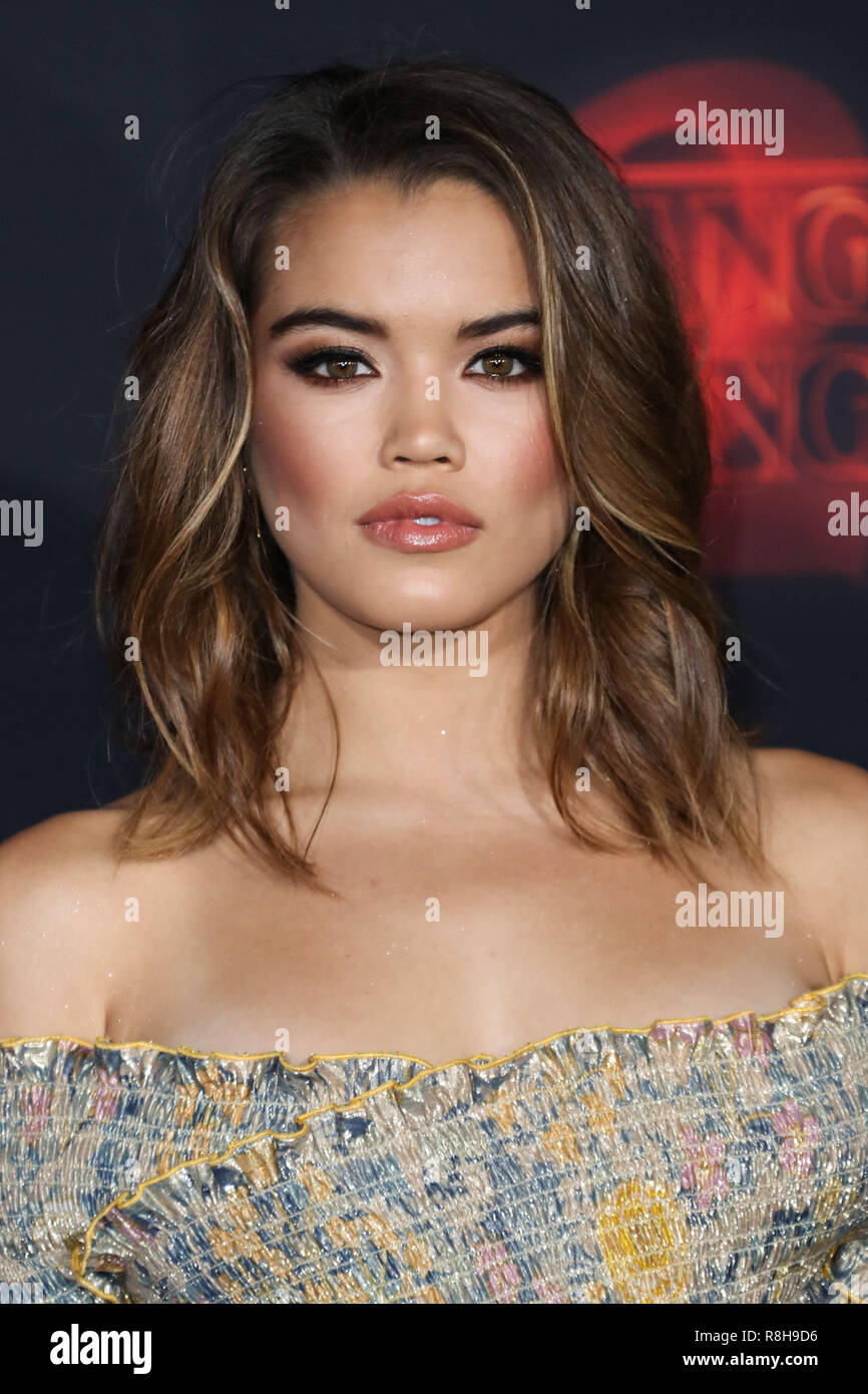 WESTWOOD, LOS ANGELES, CA, USA - OCTOBER 26: Paris Berelc at the Los Angeles Premiere Of Netflix's 'Stranger Things' Season 2 held at the Westwood Village Theatre on October 26, 2017 in Westwood, Los Angeles, California, United States. (Photo by Xavier Collin/Image Press Agency) - Stock Image