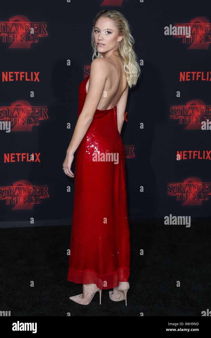WESTWOOD, LOS ANGELES, CA, USA - OCTOBER 26: Maika Monroe at the Los Angeles Premiere Of Netflix's 'Stranger Things' Season 2 held at the Westwood Village Theatre on October 26, 2017 in Westwood, Los Angeles, California, United States. (Photo by Xavier Collin/Image Press Agency) - Stock Image