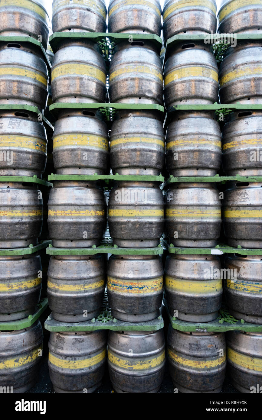 Rows of beer kegs at Tennent Caledonian Breweries  Wellpark Brewery in Glasgow, Scotland, UK - Stock Image