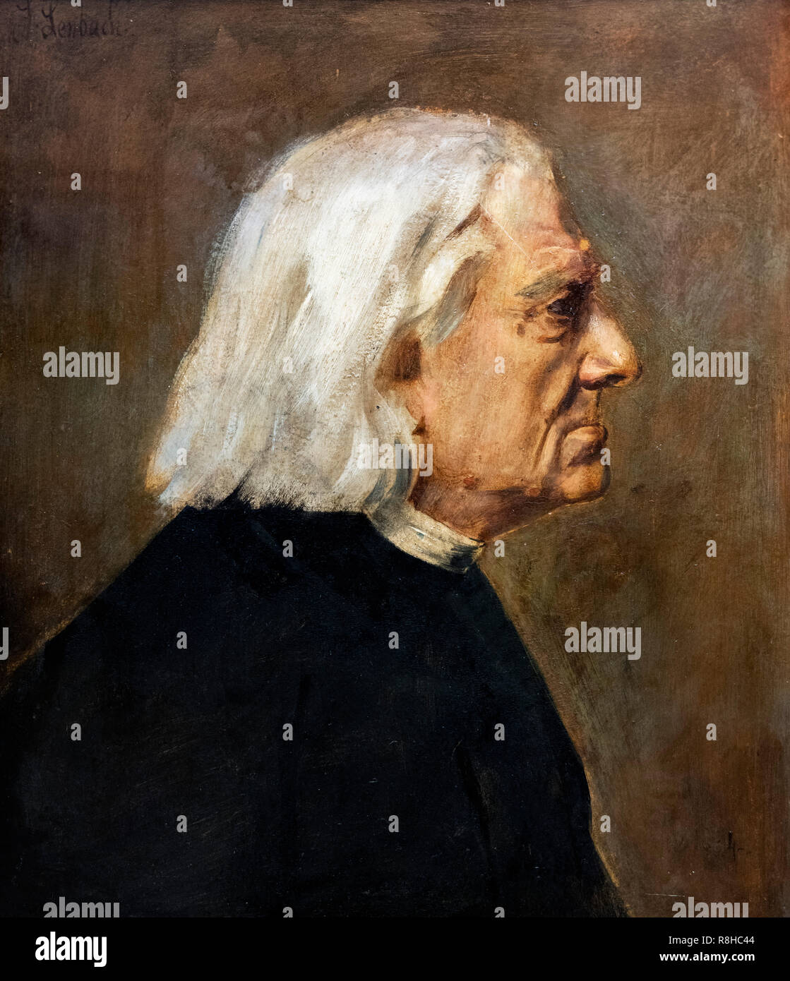 Portrait of the Hungarian pianist and composer, Franz Liszt (1811-1886) by Franz von Lenbach (1836-1904), oil on cardboard, 1884 - Stock Image