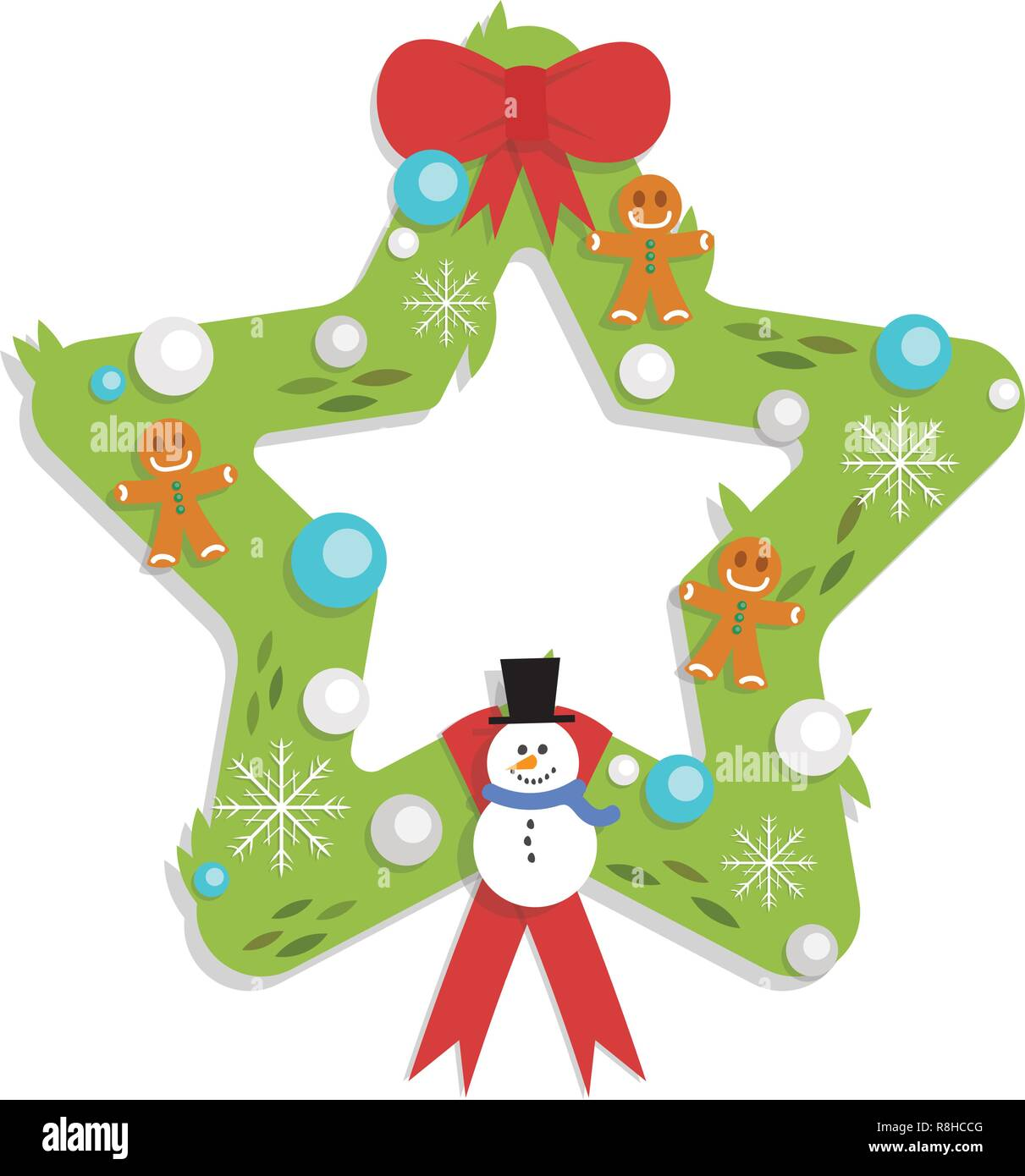 Christmas Star Shaped Garland Cartoon Flat Style Isolated Stock