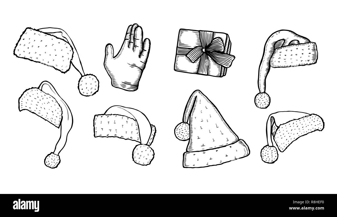 The hand of Santa Claus collection of different shapes santa xmas christmas hats, In the vintage style of engraving Stock Vector