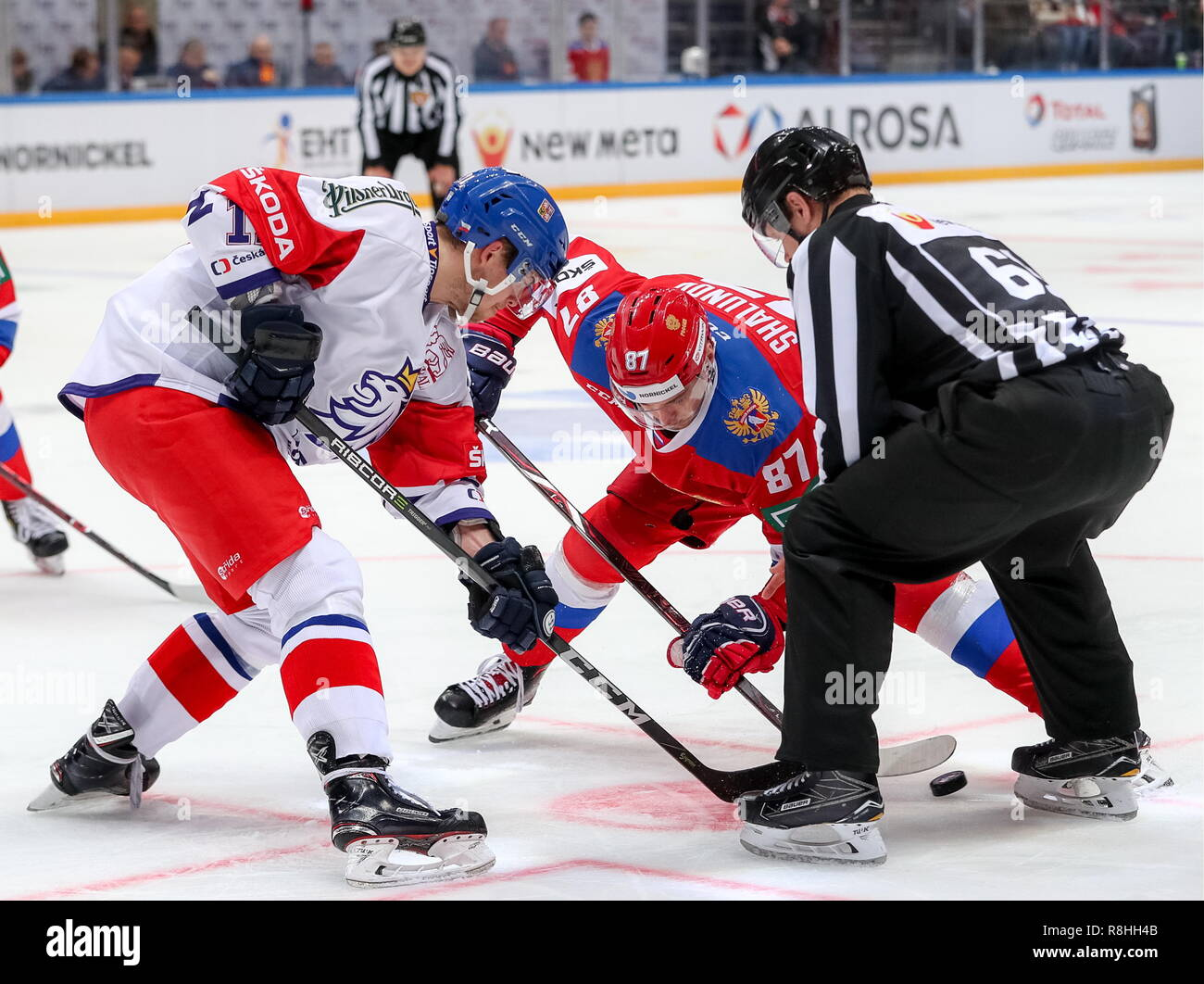 Moscow, Russia. 15th Dec, 2018. MOSCOW, RUSSIA - DECEMBER 15, 2018: The Czech Republic's Andrej Nestrasil (L) and Russia's Maxim Shalunov doing a faceoff in their 2018-19 Euro Hockey Tour Channel One Cup ice hockey match at CSKA Arena. Mikhail Tereshchenko/TASS Credit: ITAR-TASS News Agency/Alamy Live News - Stock Image