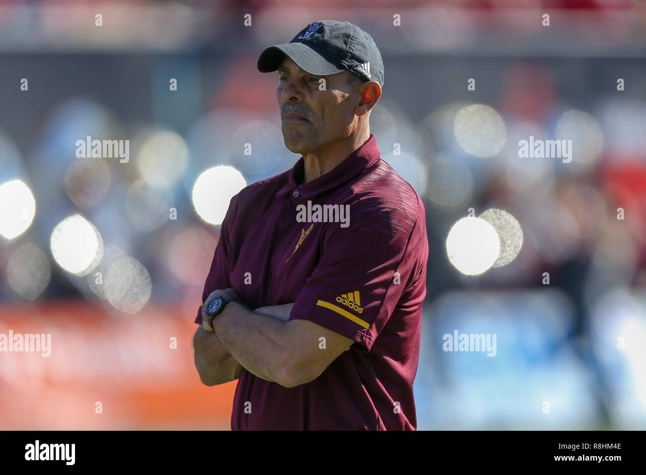 10ab893eb05 Arizona State Sun Devils head coach Herm Edwards before the Las Vegas Bowl  featuring the Arizona State Sun Devils and Fresno State Bulldogs on  December ...