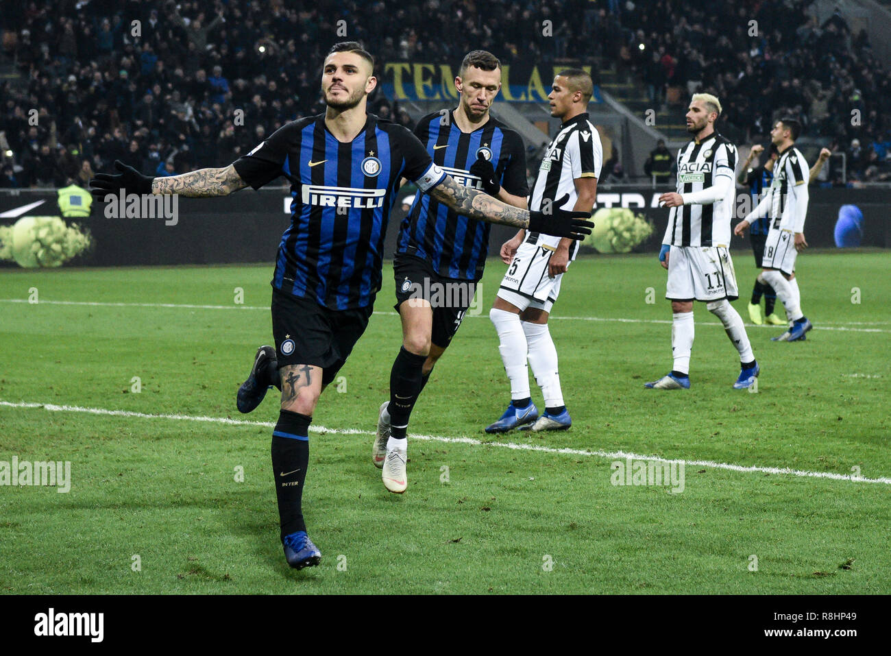 Milan, Italy. 15th Dec 2018. Forward Mauro Icardi (Inter) celebrates after scoring a goal during the Serie A football match, Inter Milan vs Udinese Calcio at San Siro Meazza Stadium in Milan, Italy on 15 December 2018 Credit: Piero Cruciatti/Alamy Live News - Stock Image