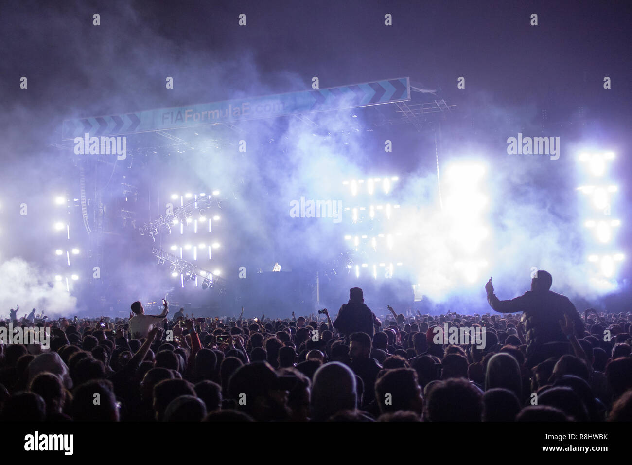 Ad Diriyah, Saudi Arabia. 15th December 2018. French DJ David Guetta plays to an historic open-air crowd at the season-opening Formula E racing event in Saudi Arabia. Credit: Stephen Lioy/Alamy Live News - Stock Image