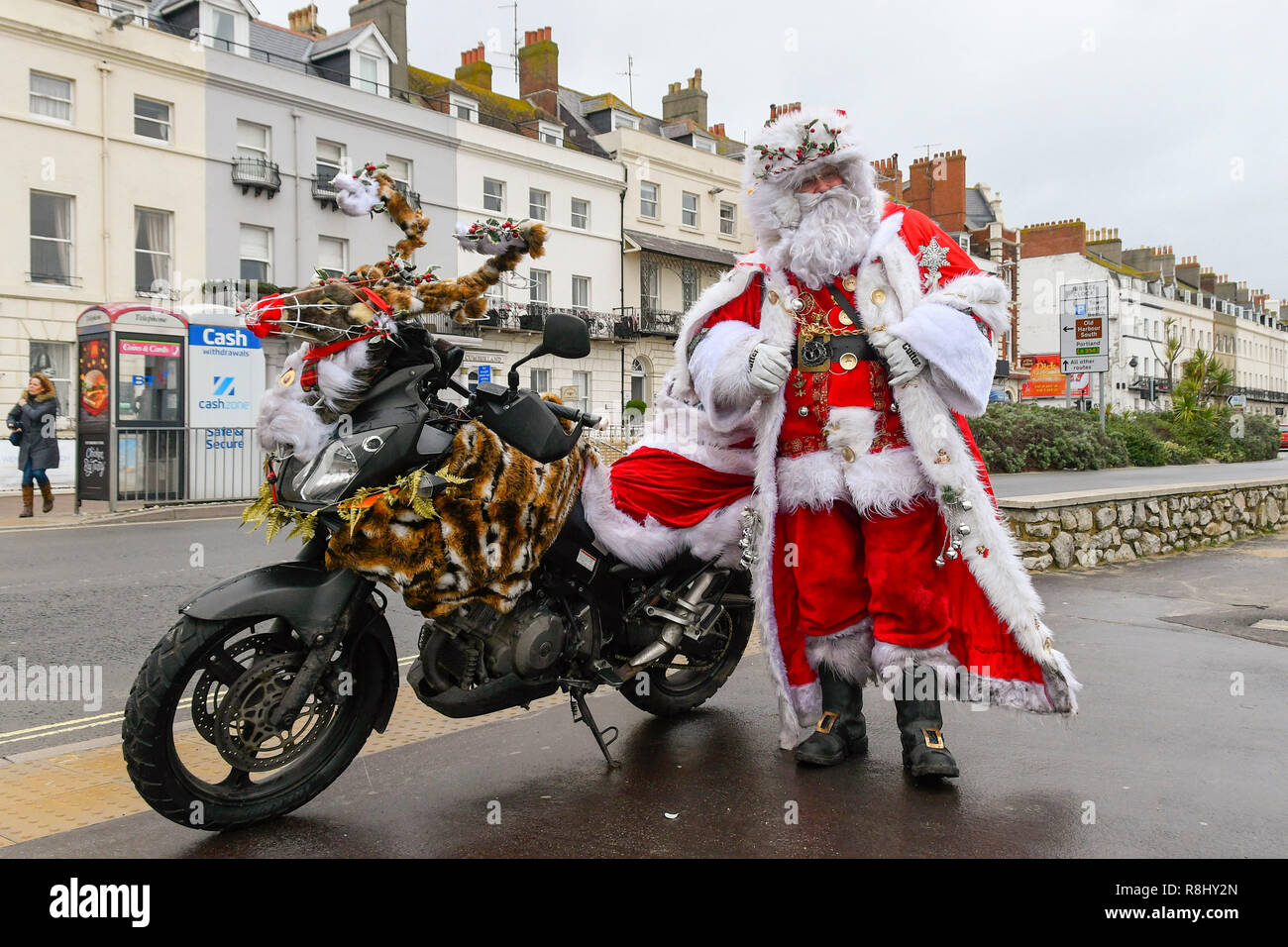 Biker Christmas.Weymouth Dorset Uk 16th December 2018 Father Christmas