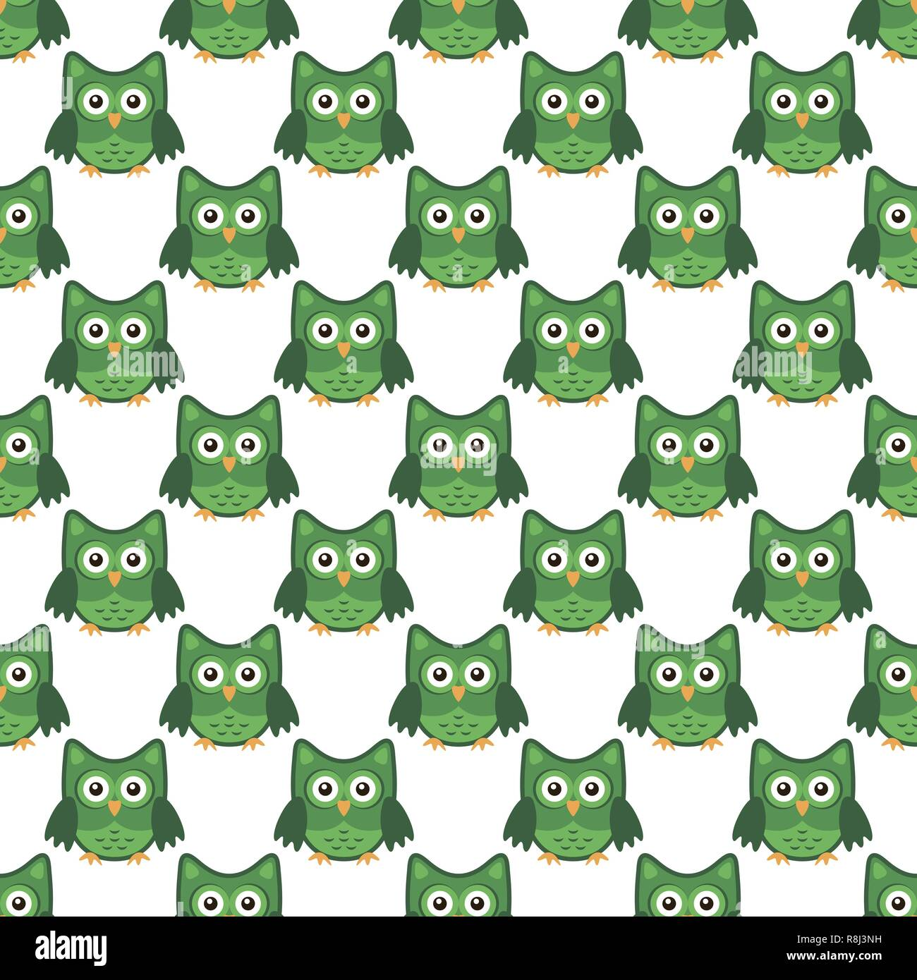 Owl stylized art seemless pattern green white colors - Stock Vector