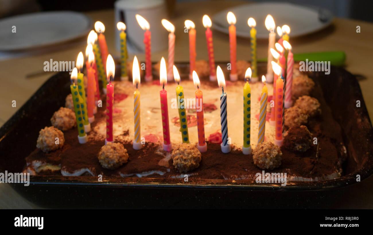 Happy Birthday Cake With Candles Stock Photo 229050164 Alamy