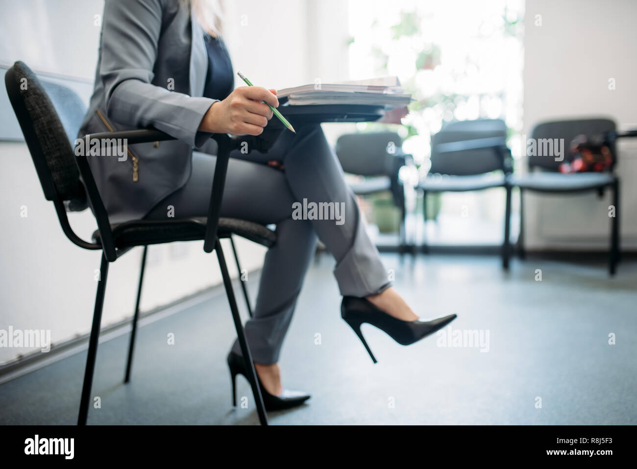 Woman In Suit Passes Interview In Business Office Secretary Or
