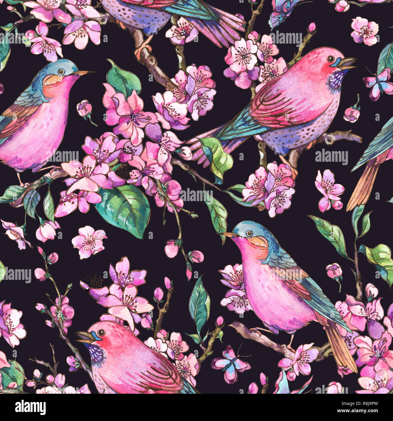 Watercolor floral spring seamless pattern pink blooming branches of cherry peach pear sakura apple trees and butterflies beautiful birds in love
