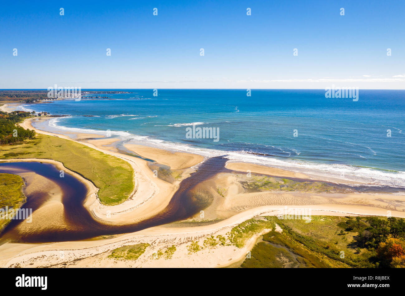 Aerial view of Little River estuary - Stock Image