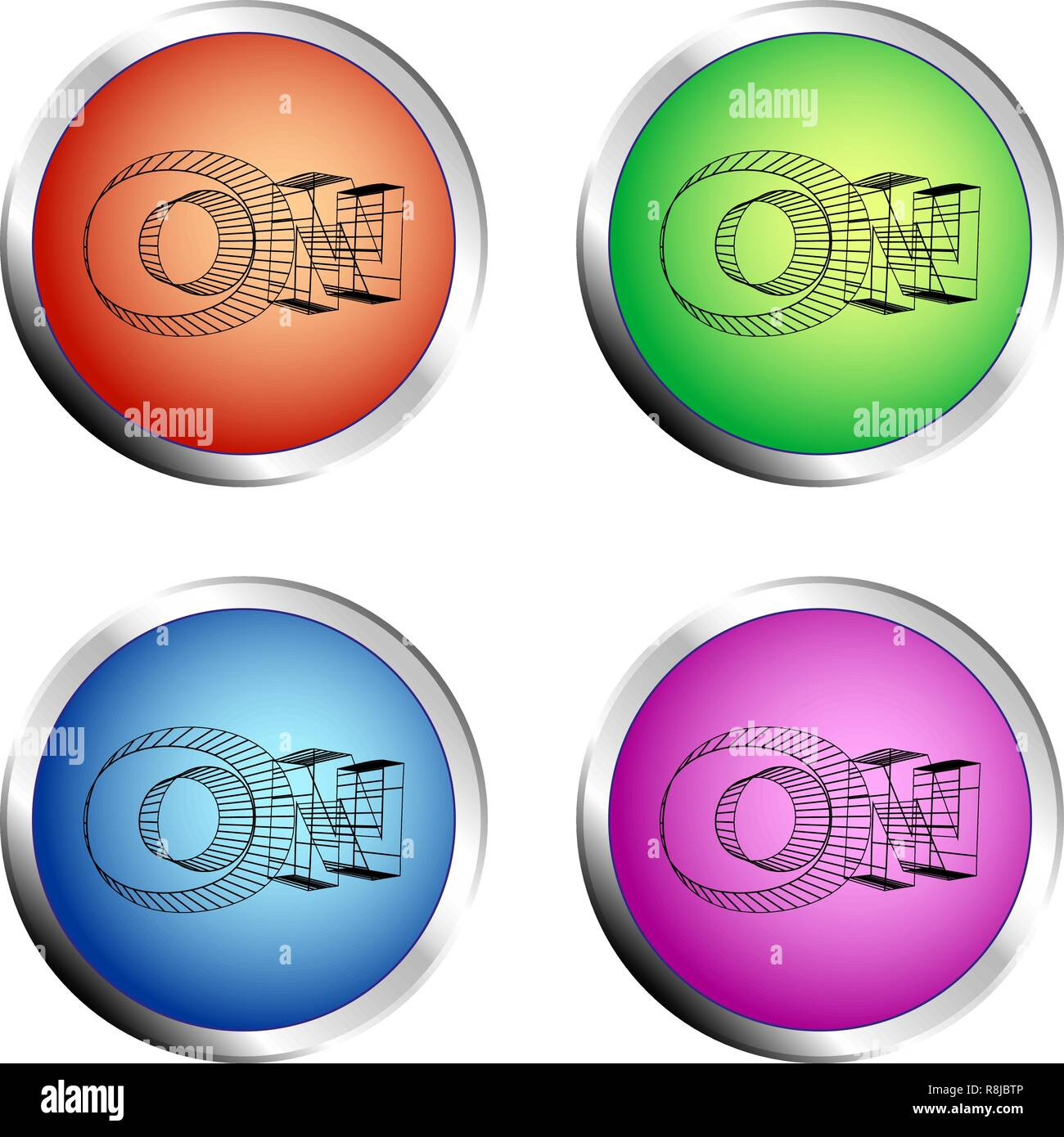 ON colored circle push button Set - Vector - Stock Image