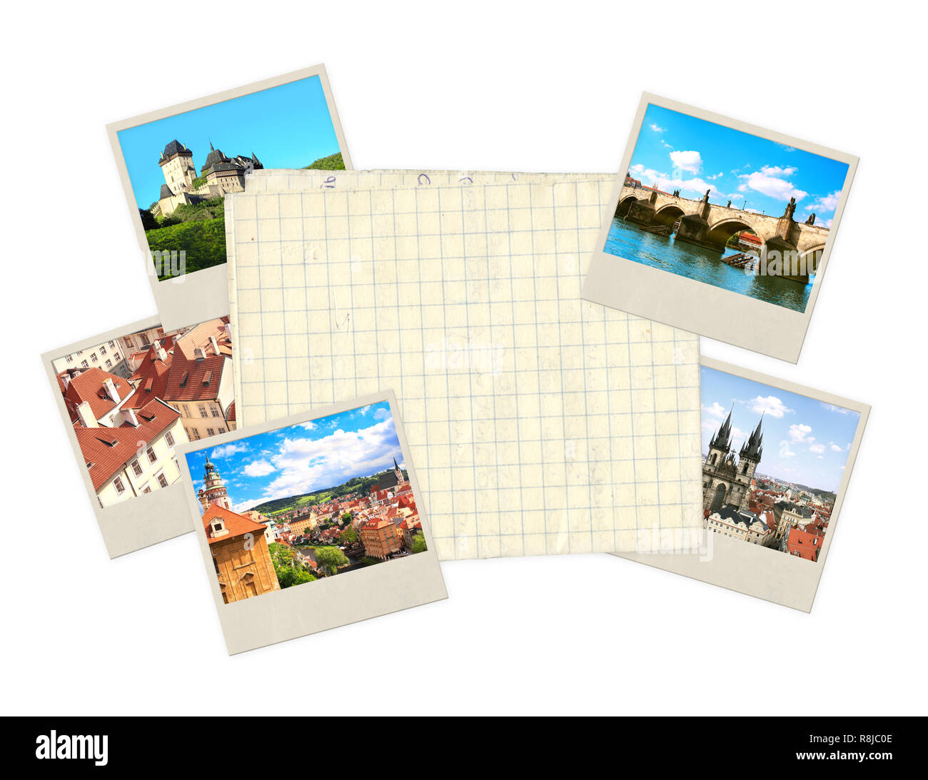 Memories of Czech. Old photos and paper - Stock Image