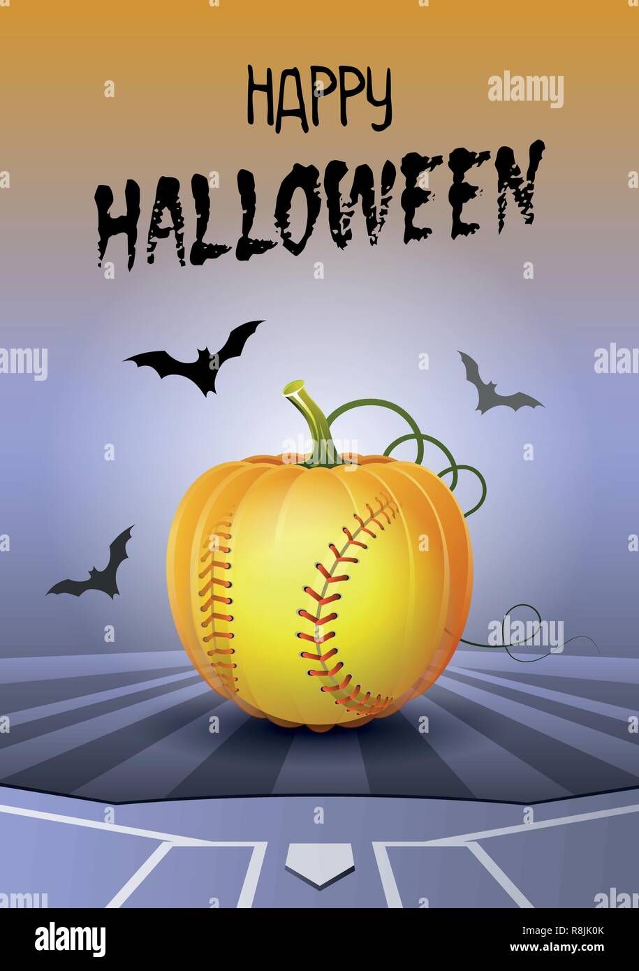 Happy Halloween. Sports greeting card. Realistic softball ball in the shape of a Pumpkin. Vector illustration. Stock Vector