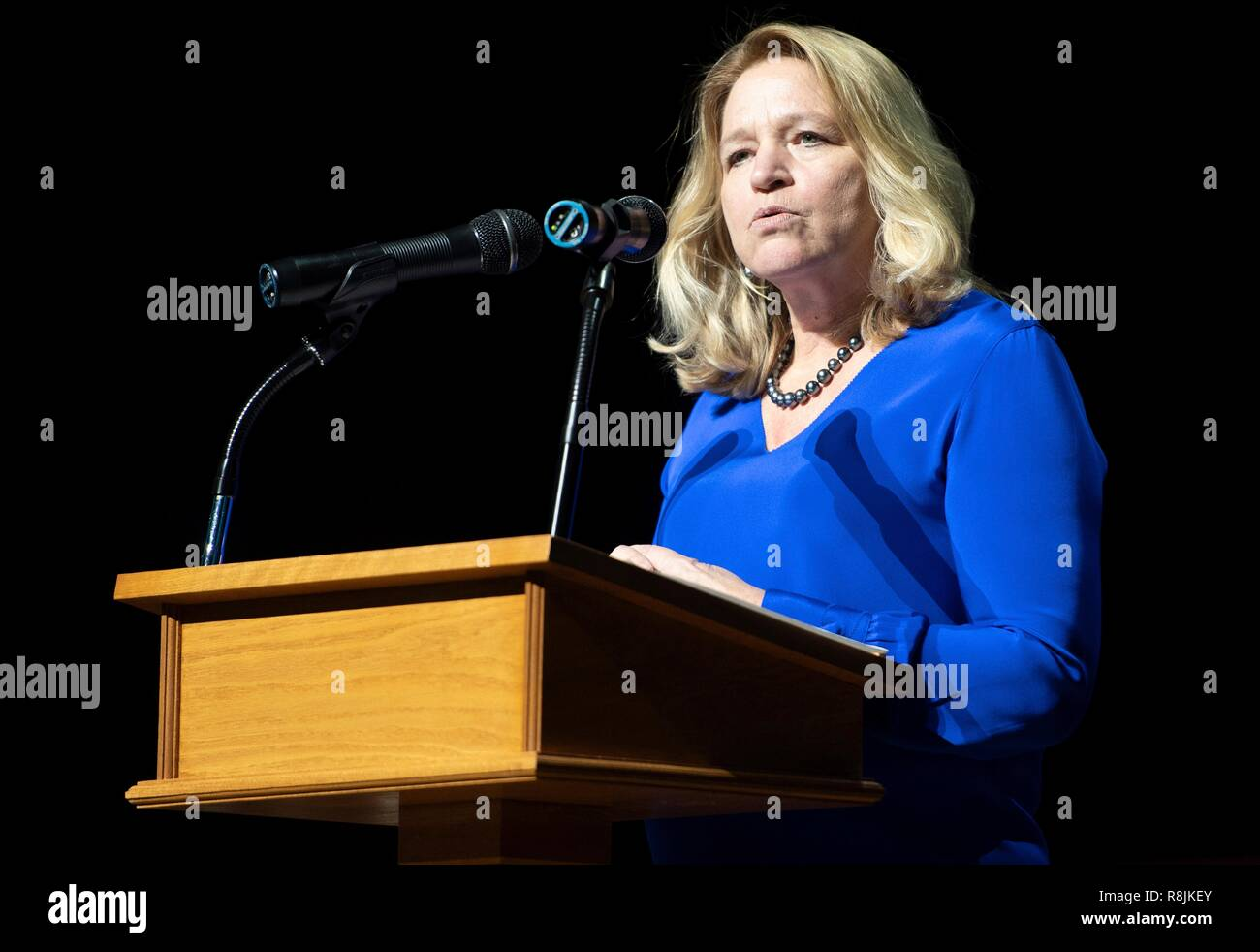 Ellen Stofan, director of the Smithsonian National Air and Space Museum, speaks about the Apollo program during the Spirit of Apollo event commemorating the 50th anniversary of Apollo 8 at the National Cathedral December 11, 2018 in Washington, DC. Apollo 8 was the first manned spaceflight to the Moon and back carrying astronauts Frank Borman, Jim Lovell, and William Anders in December of 1968. - Stock Image