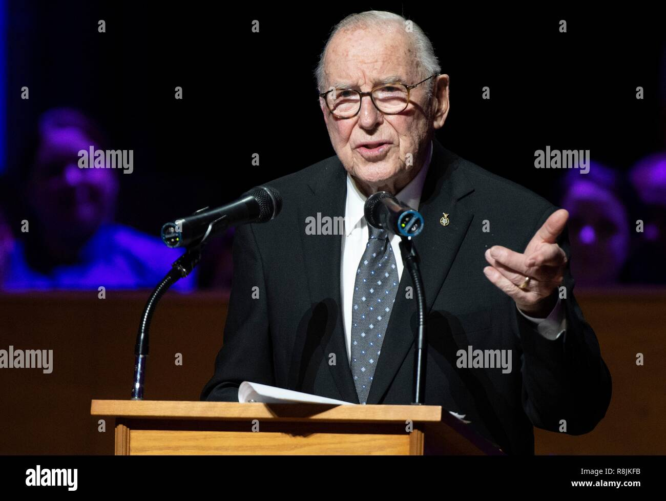 Apollo 8 astronaut Jim Lovell speaks during the Smithsonian National Air and Space Museums Spirit of Apollo event commemorating the 50th anniversary of Apollo 8 at the National Cathedral December 11, 2018 in Washington, DC. Apollo 8 was the first manned spaceflight to the Moon and back carrying astronauts Frank Borman, Jim Lovell, and William Anders in December of 1968. - Stock Image