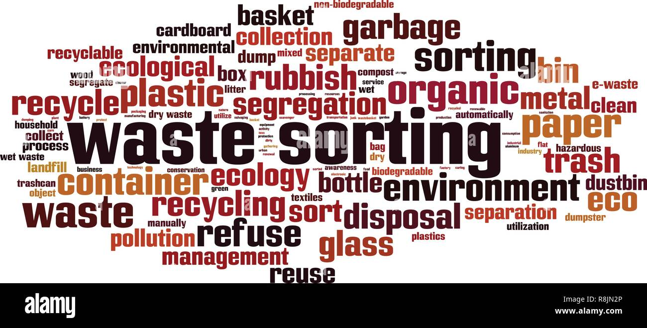 Waste sorting word cloud concept. Vector illustration - Stock Vector