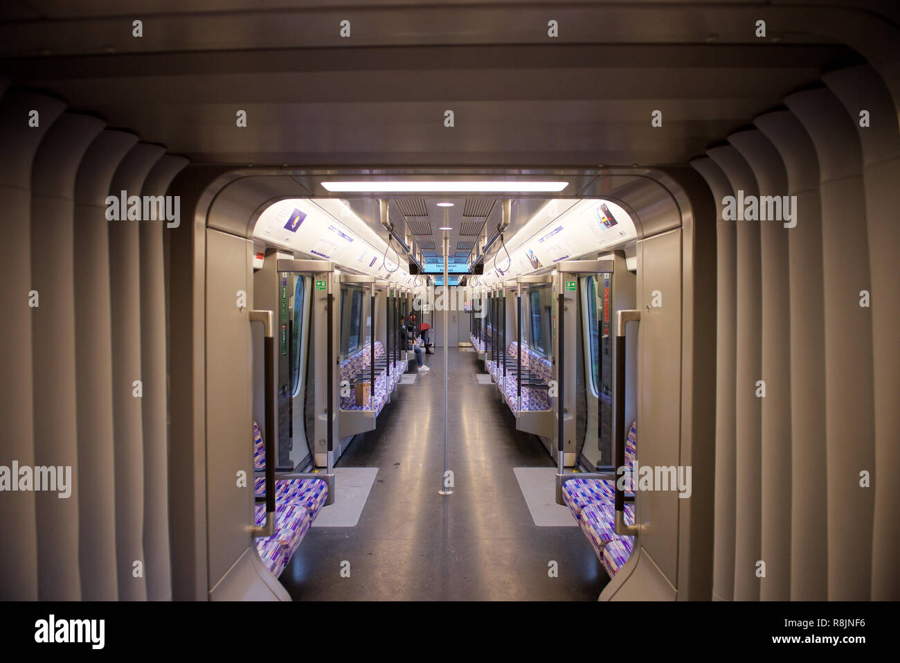 Interior of a Class 345 Electric Multiple Unit train (Crossrail) - Stock Image