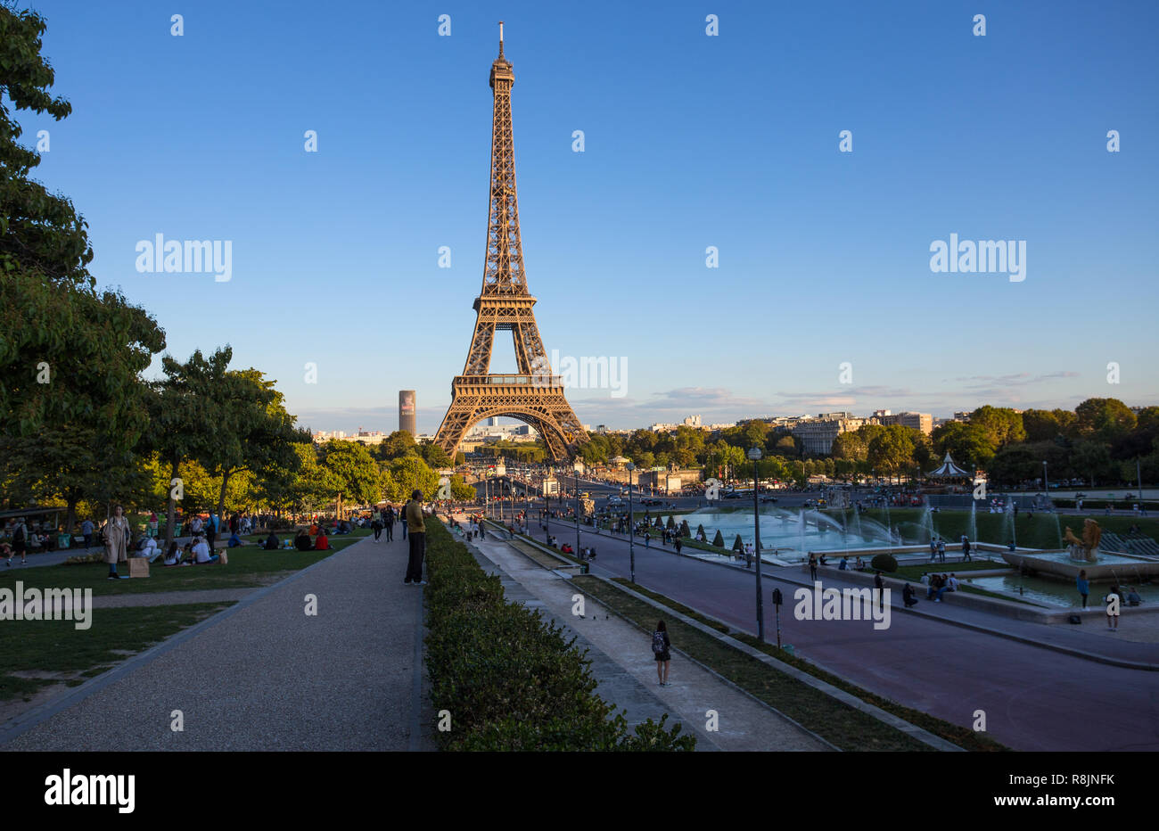 PARIS, FRANCE, SEPTEMBER 7, 2018 - View of Eiffel Tower from Trocadero in Paris, France. - Stock Image