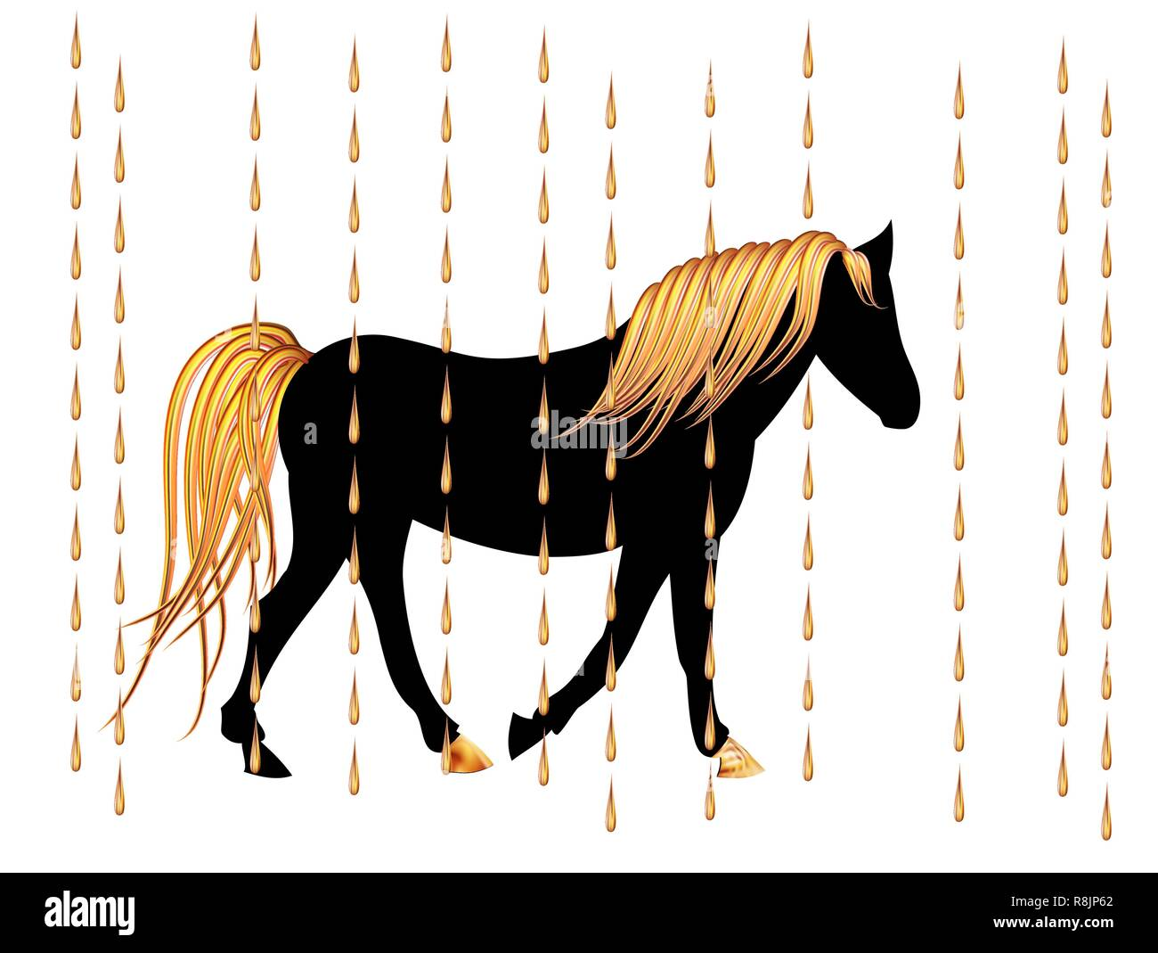 Christmas Horse Cartoon.Black Arabian Horse With Golden Mane On Christmas Night