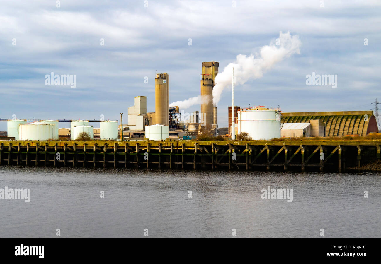 CF Fertilizers Ammonium Nitrate or Nitram Production and Storage Plant on the North Bank of the River Tees at Billingham Teesside - Stock Image