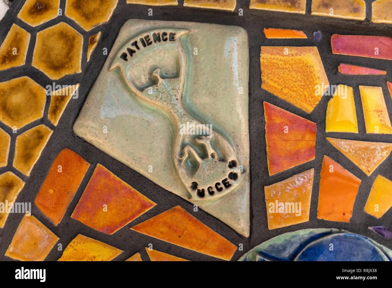 Albuquerque Convention Center tile mosaic (detail) by Cassandra Reid and apprentices Stock Photo