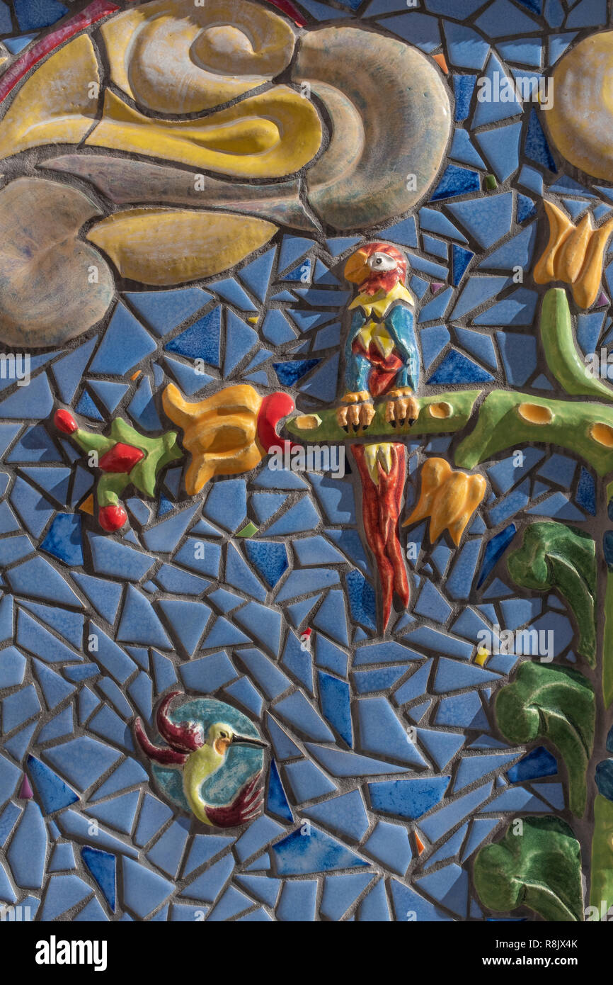 """Albuquerque Convention Center tile mosaic (detail) by Cassandra Reid and apprentices: """"Tree of Life"""" Stock Photo"""