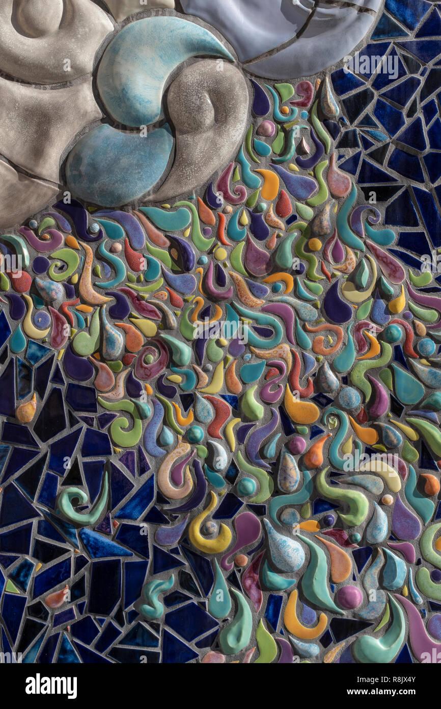 "Albuquerque Convention Center tile mosaic (detail) by Cassandra Reid and apprentices: ""Garden of Transformation"" Stock Photo"