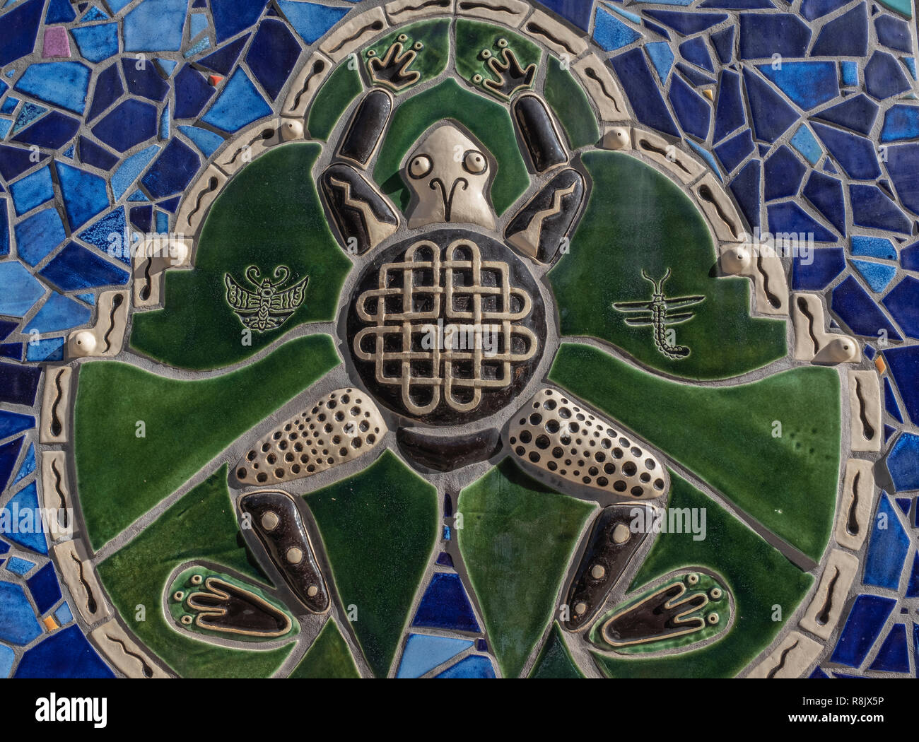 """Albuquerque Convention Center tile mosaic (detail) by Cassandra Reid and apprentices: """"River of Moonlight"""" Stock Photo"""