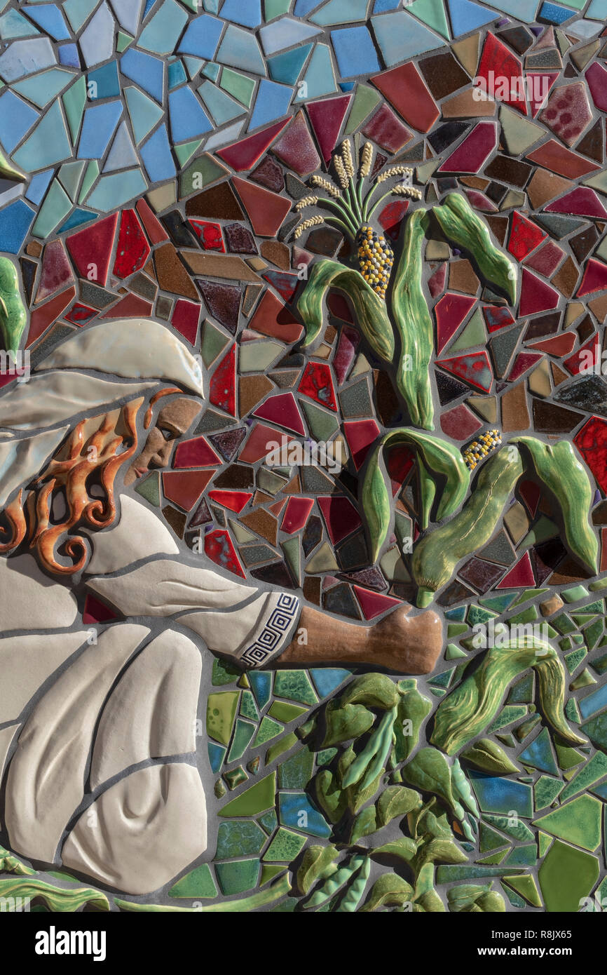 """Albuquerque Convention Center tile mosaic (detail) by Cassandra Reid and apprentices : """"Three Sisters"""" Stock Photo"""