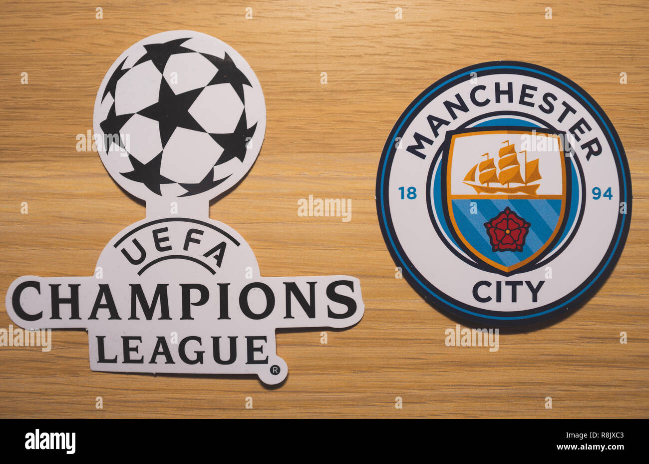15 December 2018 Nyon Switzerland The Logo Of The Football Club Manchester City F C And Uefa Champions League Stock Photo Alamy