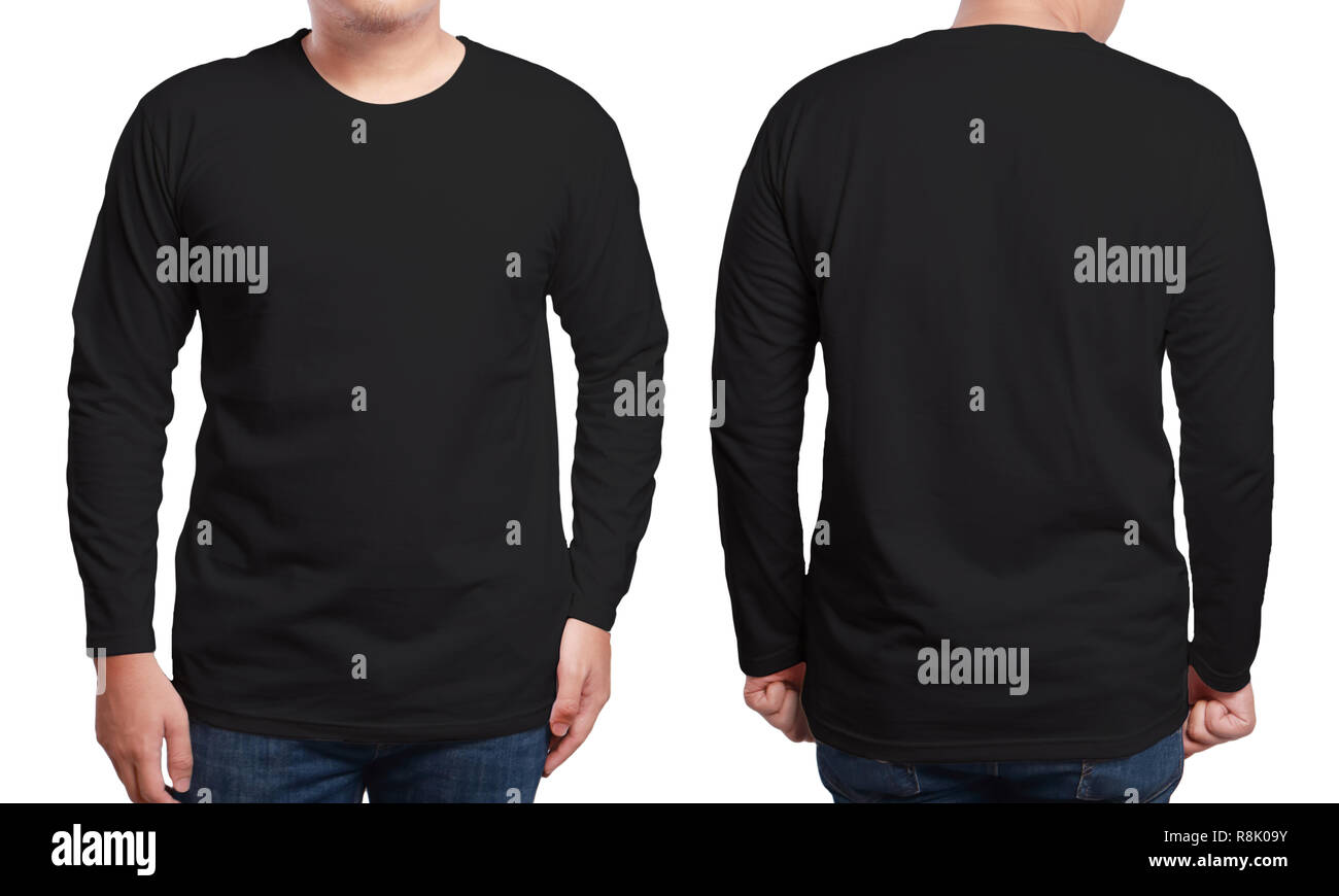 Black Long Sleeved T Shirt Mock Up Front And Back View Isolated