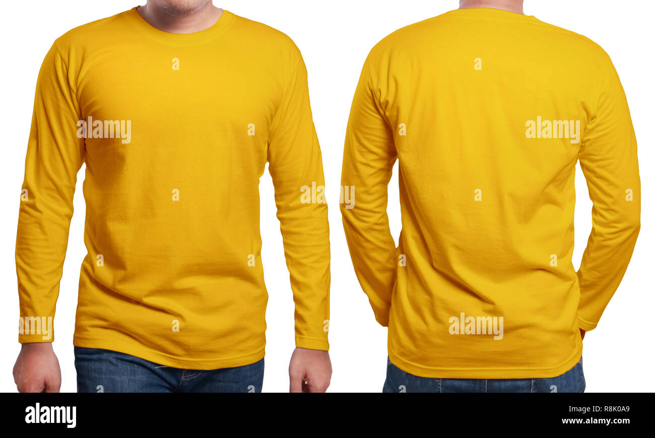 Orange Long Sleeved T Shirt Mock Up Front And Back View Isolated