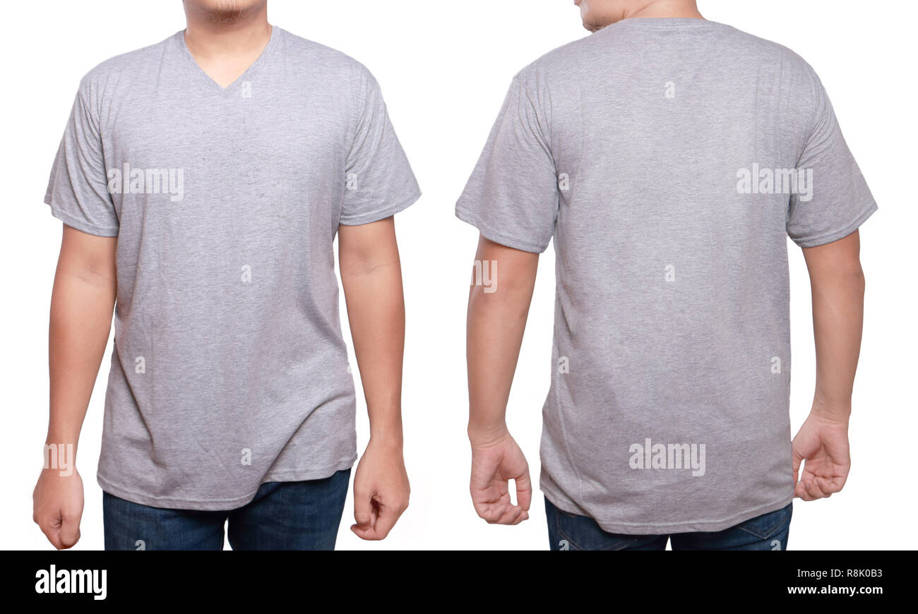 Misty Grey t-shirt mock up, front and back view, isolated. Male model wear plain gray shirt mockup. V-Neck shirt design template. Blank tees for print Stock Photo