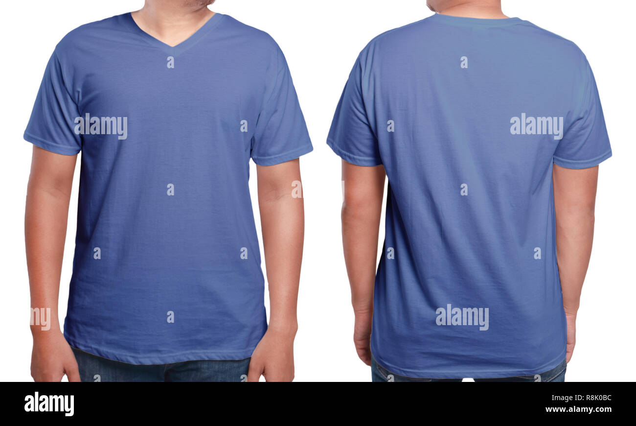 Blue T Shirt Mock Up Front And Back View Isolated Male Model Wear