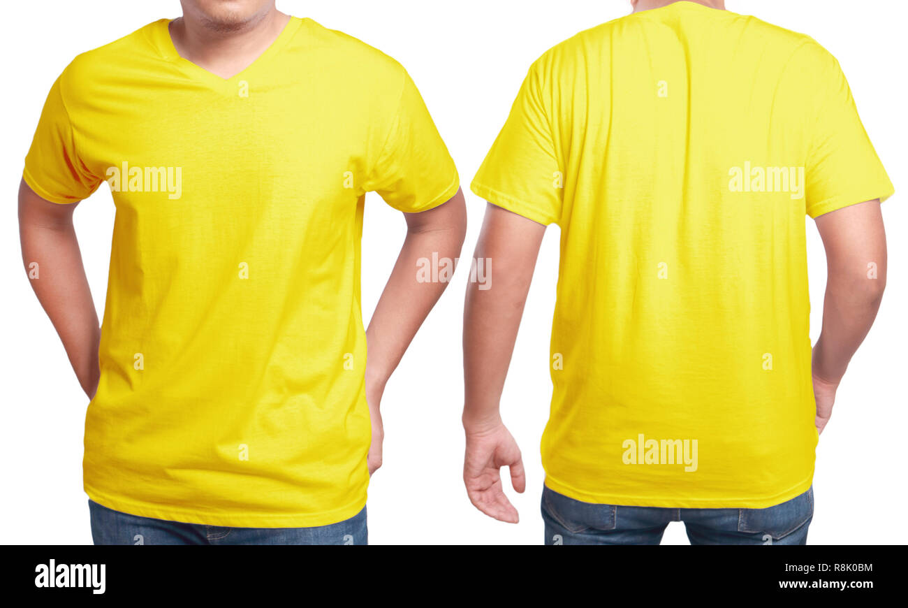 Yellow T Shirt Mock Up Front And Back View Isolated Male Model