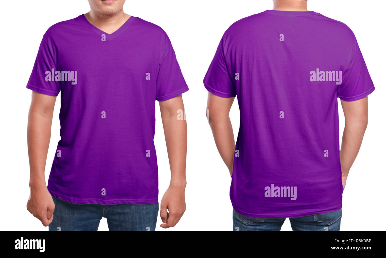 Purple T Shirt Mock Up Front And Back View Isolated Male Model