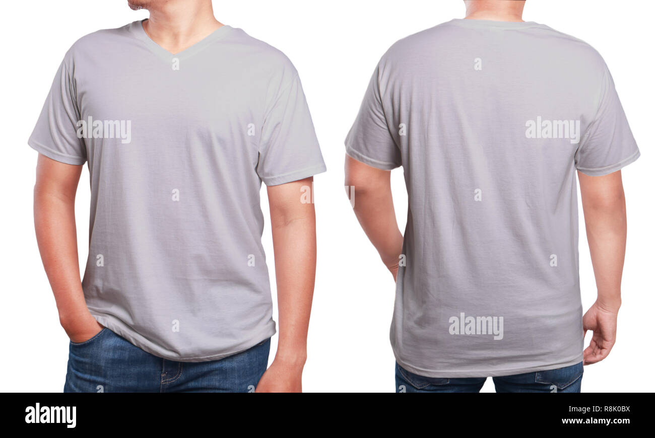 Grey T Shirt Mock Up Front And Back View Isolated Male Model Wear