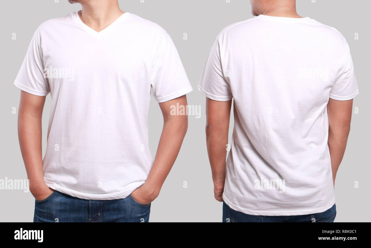 White T Shirt Mock Up Front And Back View Isolated Male Model