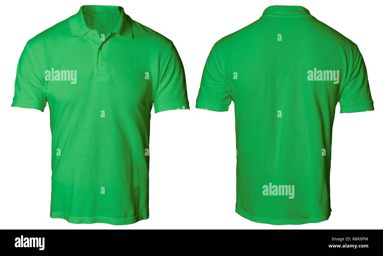 b308232c0 Blank polo shirt mock up template, front and back view, isolated on white,  plain green t-shirt mockup. Polo tee design presentation for print.