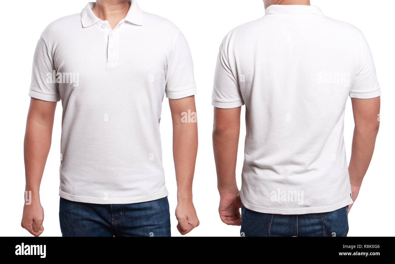 cb7dc2fe White polo t-shirt mock up, front and back view, isolated. Male model wear plain  white shirt mockup. Polo shirt design template. Blank tees for print