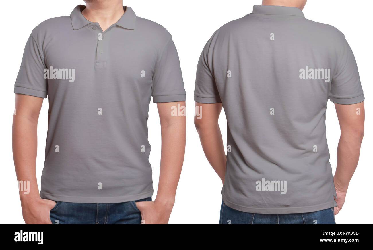 Gray polo t-shirt mock up, front and back view, isolated. Male model wear plain grey shirt mockup. Polo shirt design template. Blank tees for print Stock Photo