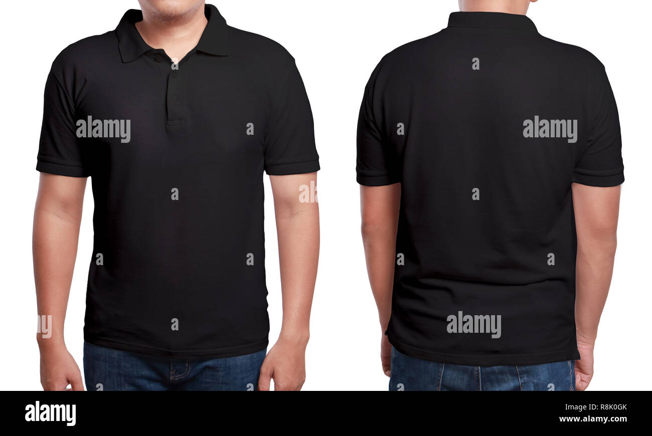 Black Polo T Shirt Mock Up Front And Back View Isolated Male