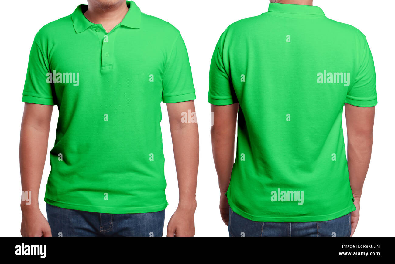 82137d5a3 Green polo t-shirt mock up, front and back view, isolated. Male model wear  plain green shirt mockup. Polo shirt design template. Blank tees for print