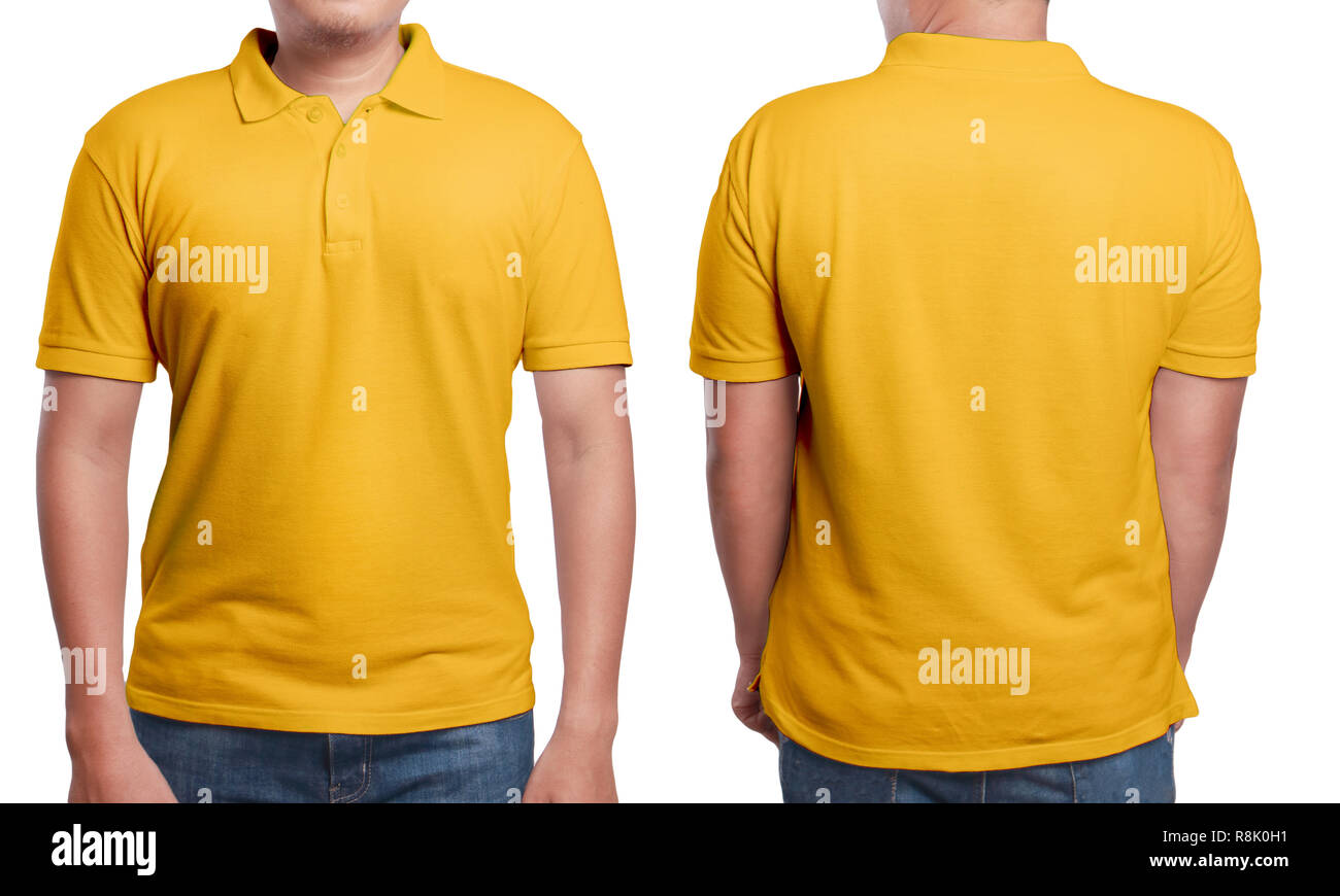 ad66a74b03a7 Orange polo t-shirt mock up, front and back view, isolated. Male