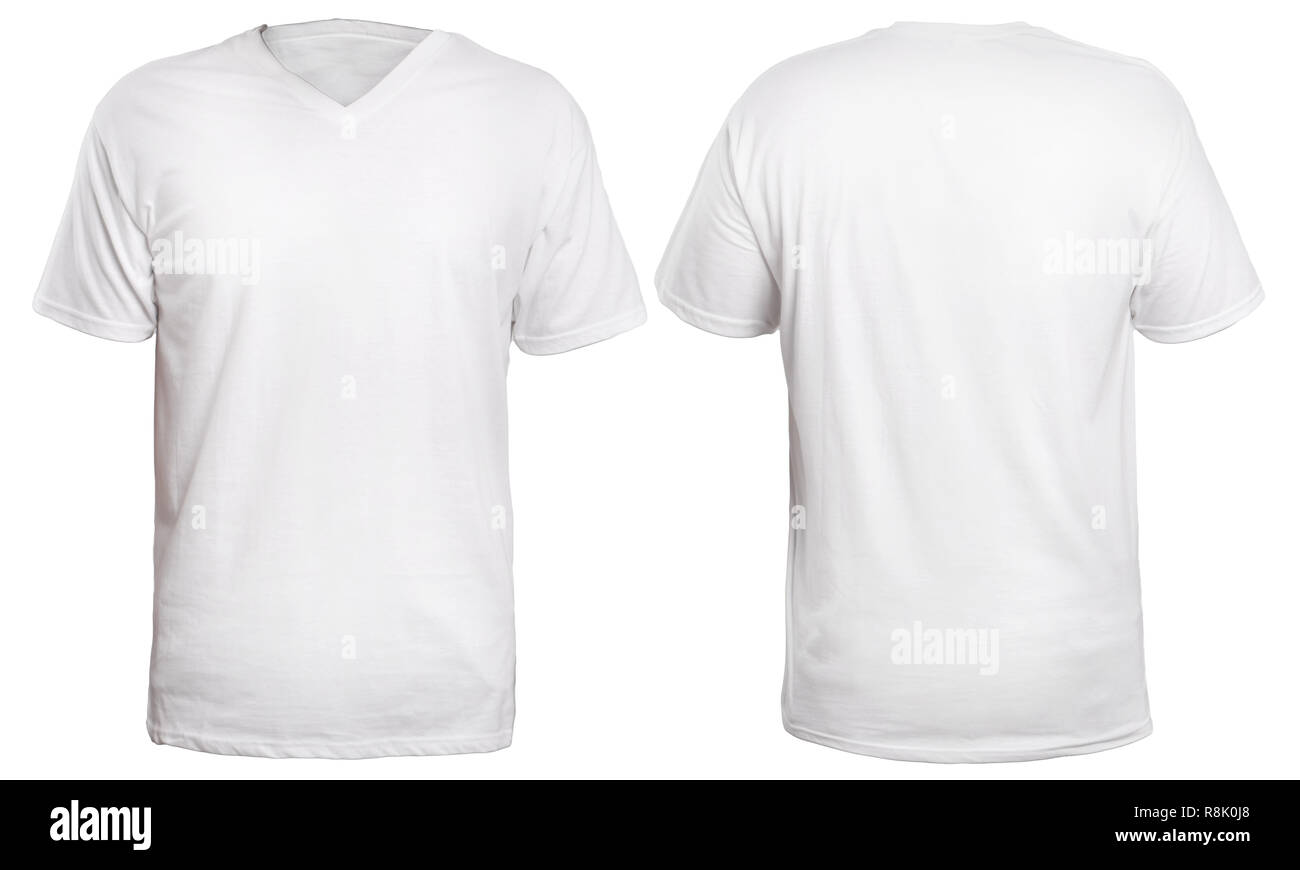 Blank V Neck Shirt Mock Up Template Front And Back View Isolated