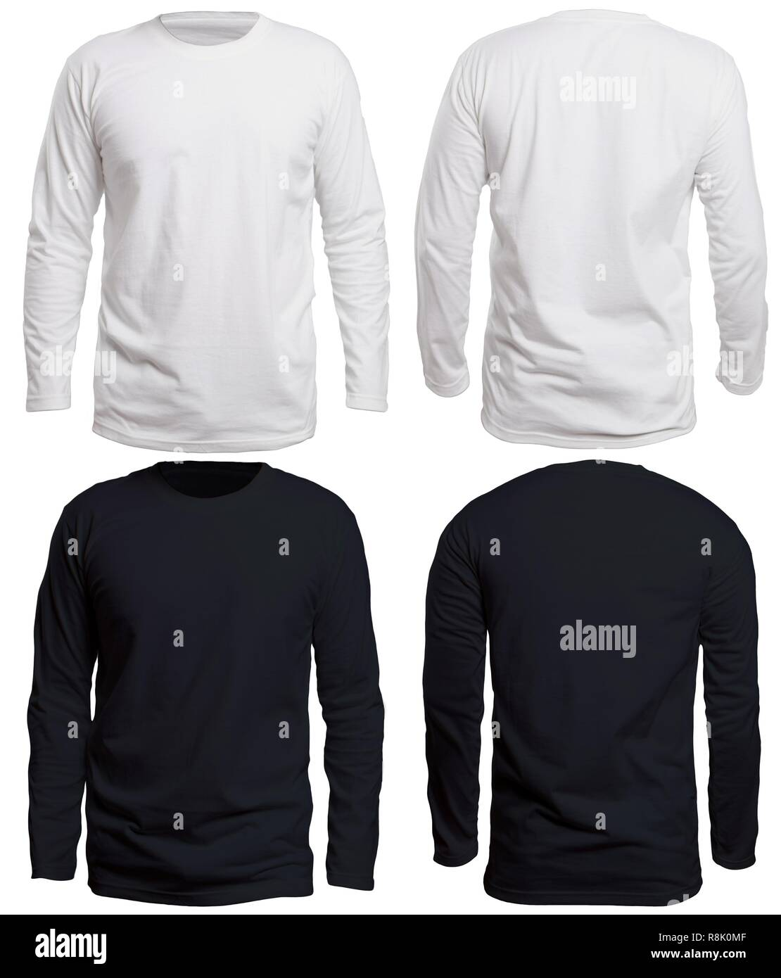 Blank Long Sleeve Shirt Mock Up Template Front And Back View