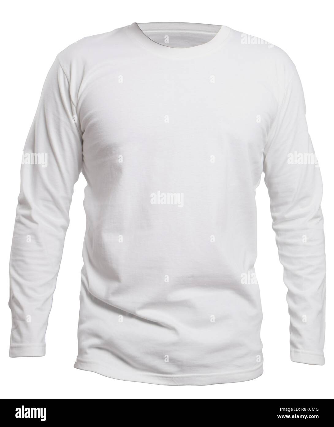 Blank Long Sleeve Shirt Mock Up Template Front View Isolated On